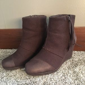 TOMS Suede Wedge Boots